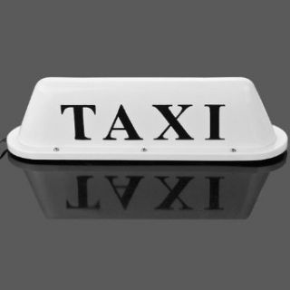 White Waterproof LED Lamp Taxi Cab Car Roof Top Sign Illuminated Light Magnetic Base   Automotive General Purpose Light Bulbs