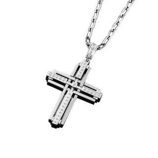 Triton Stainless Steel Cross Pendant with Diamonds Necklaces Jewelry