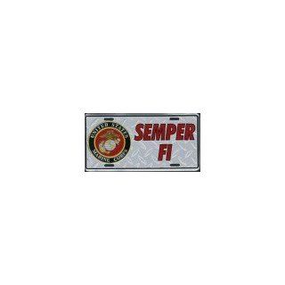 Semper Fi License Plate (US Marines) Diamond Plate Style Automotive