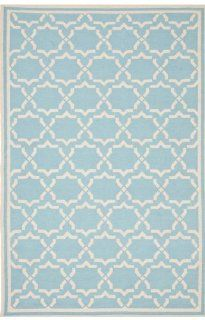 Safavieh Dhurrie Collection DHU545B 4 Handmade Wool Area Rug, 4 by 6 Feet, Light Blue/Ivory