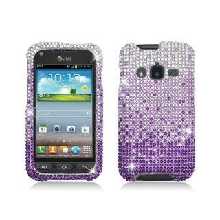 Purple Silver Waterfall Bling Gem Jeweled Crystal Cover Case for Samsung Galaxy Rugby Pro SGH I547 Cell Phones & Accessories