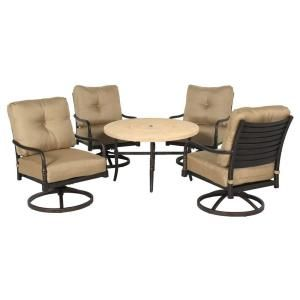 Hampton Bay Madison 5 Piece Patio Fire Pit Chat Set with Textured Golden Wheat Cushions DISCONTINUED 13H 001 5FSR