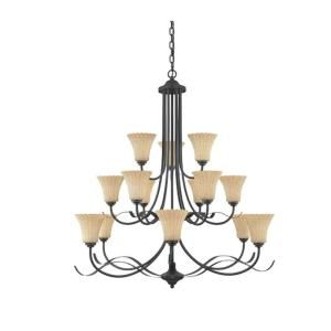 Designers Fountain Putney Collection 15 Light Hanging Burnished Bronze Chandelier HC0934