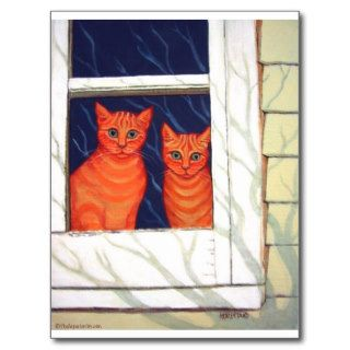 Inside Looking Out   Orange Tabby Cats Post Card