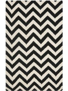 Safavieh Dhurrie Collection DHU557L 3 Handmade Wool Area Rug, 3 by 5 Feet, Black/Ivory   Chevron Black White Rug