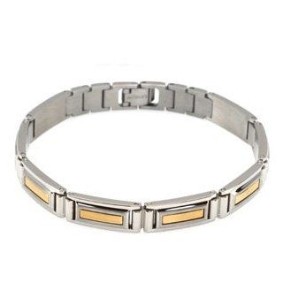 14K Two Tone Gold Stainless Steel Men's Bracelet Jewelry