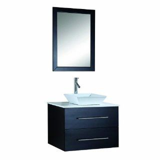 Virtu USA MS 560 S ES Marsala 30 Inch Wall Mounted Single Sink Bathroom Vanity Set with White Stone Countertop, Faucet, Espresso Finish   Modern Vanity