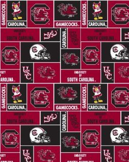 College University of South Carolina Gamecocks Print Fleece Fabric By the Yard