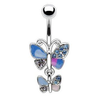 Hinged multi color pave jeweled double butterfly belly ring Jewelry