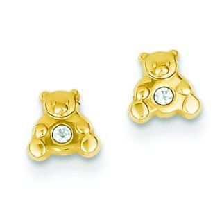 14K Gold Mini Teddy Bear CZ Stud Earrings Jewelry Jewelry