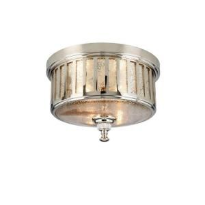 Hampton Bay Berzon 2 Light Ceiling English Pewter Flush Mount HMP8012A