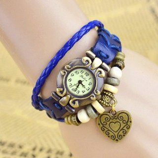 Giant Heart Charm Blue Color Women Ladies Weave Leather Belt Bracelet Watch Watches