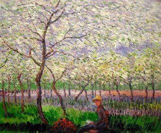 "Hand Painted Canvas Art Monet Paintings An Orchard in Spring   Classic 20"" X 24""   Oil Paintings"
