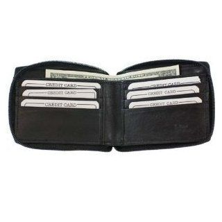 New All Rounder Zipper Mens Wallet Black #574  Expanding Wallets