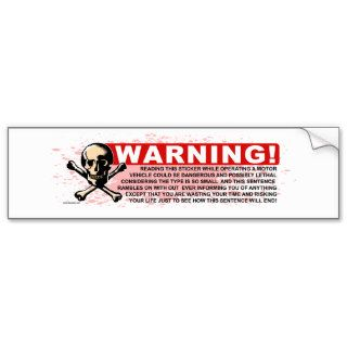 Warning White Bumper Stickers