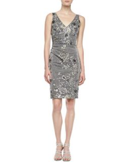Womens Sleeveless Floral Embroidered Cocktail Dress, Gray   David Meister