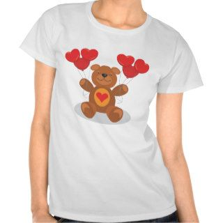Cute Teddy Bear Happy Birthday Heart Balloons Shirts