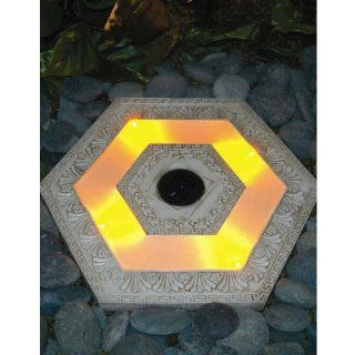 Solar Powered Lighted Stepping Stone, Hexagon/White   Outdoor Step Lights