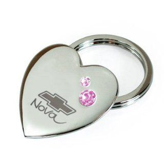 Nova Bowtie Chevrolet Pink Crystal Heart Metal Key Chain Automotive