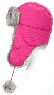 Satsumauk Women's Ladies warm winter Quilted Nylon Trapper Hat with faux fur trim and pom poms Fuchsia Clothing