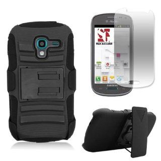 [SlickGearsTM] Black Heavy Duty Combat Armor Kickstand Holster Case for Samsung Galaxy Exhibit SGH T599 (T Mobile, MetroPCS) + Premium Screen Protector Cell Phones & Accessories