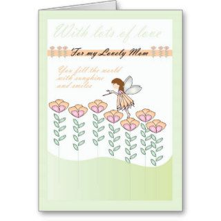 Happy birthday Mom cute little fairy card & flower