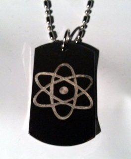 Nuclear Atom Atomic Power Logo Symbols   Military Dog Tag Luggage Tag Key Chain Metal Chain Necklace