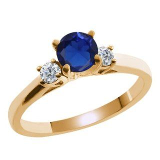 0.68 Ct Blue Created Sapphire White Diamond 925 Yellow Gold Plated Silver Ring Jewelry