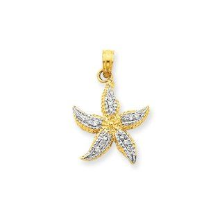 15mm Diamond Starfish Pendant In 14 Karat Yellow Gold And Rhodium Jewelry