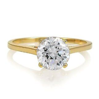 14K Yellow Gold Vermeil 2ct Round Cubic Zirconia CZ Solitaire Ring   Women's Engagement Wedding Ring Size 8 Jewelry