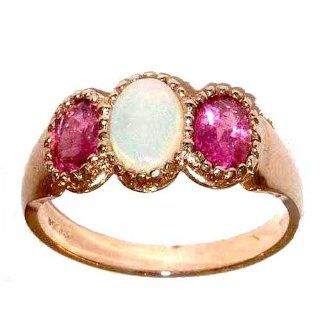Luxury 9K Rose Gold Ladies Fiery Opal & Pink Tourmaline Ring   Finger Sizes 5 to 12 Available Jewelry