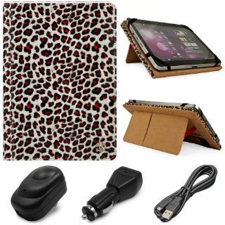 Black & Gold Zebra Design VG Mary Edition Faux Leather Cover Case w/ Pull Out Kickstand for HP Slate 2 Windows 8.9 inch Capacitive Touch Screen Tablet PC + Black USB Car Charger + Black USB Wall / Travel Charger + Black Micro USB Data Cable Computers