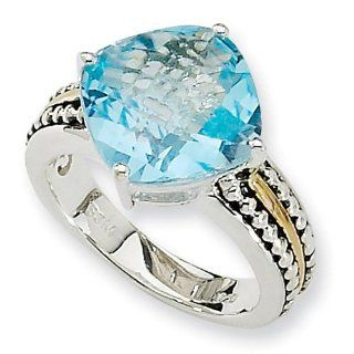Sterling Silver with 14k Yellow Gold 7.85 Sky Blue Topaz Ring Jewelry