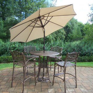 Oakland Living Elite Cast Aluminum 5 Piece Bar Set with 42 Inch Table and 9 Feet Beige Tilting Umbrella and Stand  Outdoor And Patio Furniture Sets  Patio, Lawn & Garden