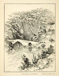 1891 Print Kuran Dupulan Mountain Bridge Landscape River Trees Pointed Arch Rock   Relief Line block Print