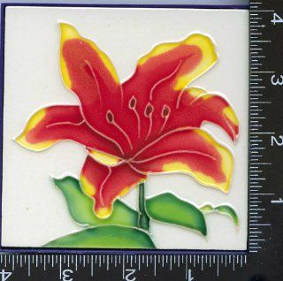 "3, Decorative Tiles, RED FLOWER, TILES, about, 4"" X 4"" X .25"", 10cmX10cm., HAND PAINTED, TILE,"