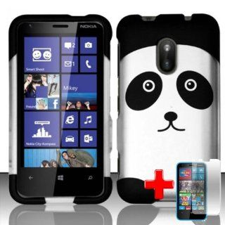 Nokia Lumia 620 (AIO Wireless) 2 Piece Snap On Rubberized Hard Plastic Image Case Cover, Black/White Cute Cartoon Panda Bear + LCD Clear Screen Saver Protector Cell Phones & Accessories