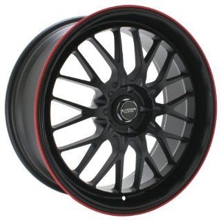Kyowa Racing Evolve (Series 628) Flat Black Red Stripe   17 x 7 Inch Wheel Automotive