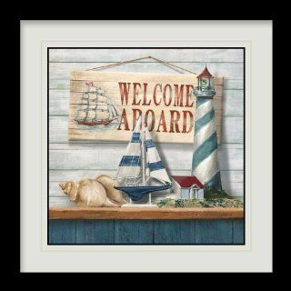 """Welcome Aboard"" Beach Boat Shell Lighthouse Cabin Ship 16"" x 16"" inches Framed Canvas Art Gallery Wrap Painting NVMDF 630 [Casa Bonita Decor]   Oil Paintings"