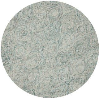 Safavieh IKT631A Ikat Collection Wool Round Area Rug, 6 Feet, Ivory and Sea Blue   Handmade Rugs
