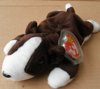 TY Beanie Babies Bruno the Dog Stuffed Animal Plush Toy   8 inches long   Brown and White