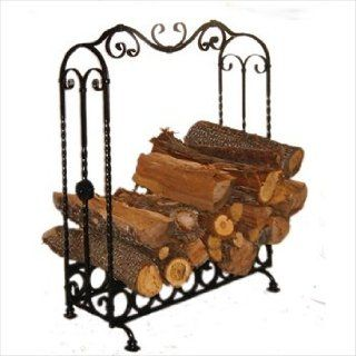 Pioche Large Wrought Iron Indoor Log Holder, Log Rack, Black Iron   Firewood Rack Indoor