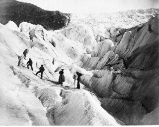 1800s photo Glacier of the Rhone graphic. Woman and four men climbing glacier d5