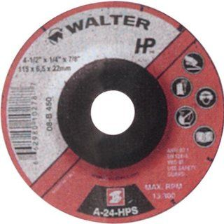 "Walter HP Grinding Wheel, Type 27, Threaded Hole, Aluminum Oxide, 4 1/2"" Diameter, 1/4"" Thick, 5/8"" 11 Spin On Arbor, Grit A 24 HPS (Pack of 20) Angle Grinder Wheels"