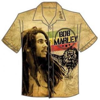 Bob Marley   Vintage Bob & Lion Club Shirt Mens Club Shirt in Tan, Size XX Large, Color Tan Clothing