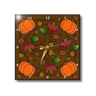 3dRose dpp_15420_1 Wall Clock, Thanksgiving Print Fall Leaves Acorns and Pumpkins, 10 by 10 Inch