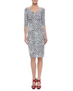 Womens 3/4 Sleeve Leopard Print Cocktail Dress   La Petite Robe by Chiara Boni