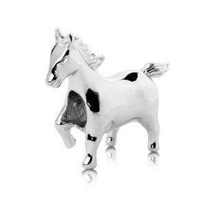 Sterling Silver Mustang Horse Charm , Fits Pandora and All Brands Charm Bracelets and Necklaces. Jewelry