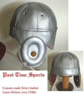 1940 Old Detroit Lions Silver Leather Football Helmet  Sports & Outdoors