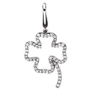 Diamond Four Leaf Clover Charm 14K White 67119 Jewelry